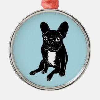 Cute brindle Frenchie in black & white digital art Metal Ornament