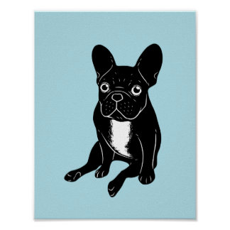 Cute brindle Frenchie in black & white digital art Poster