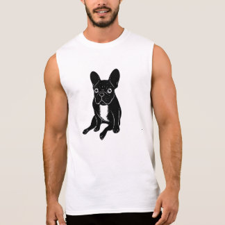 Cute brindle Frenchie in black & white digital art Sleeveless Shirt