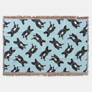 Cute brindle Frenchie in black & white digital art Throw Blanket