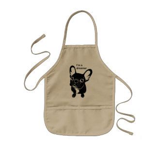 Cute brindle Frenchie is a dreamer Kids Apron