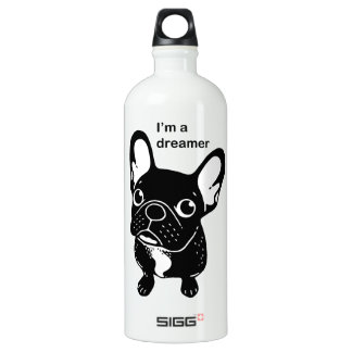 Cute brindle Frenchie is a dreamer Water Bottle