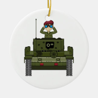 Cute British Army Soldier in Tank Ornament