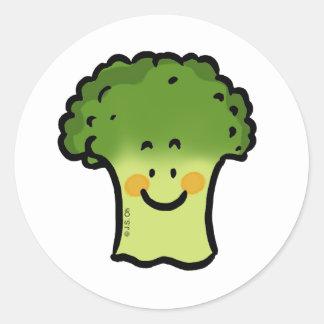 Cute broccoli classic round sticker
