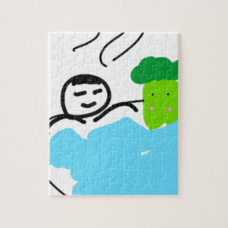Cute Broccoli in Hot Springs Jigsaw Puzzle
