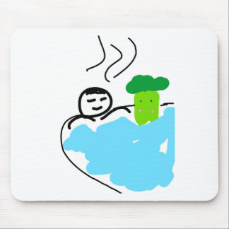 Cute Broccoli in Hot Springs Mouse Pad