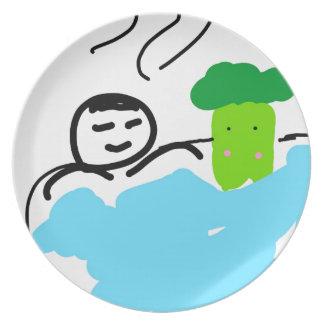 Cute Broccoli in Hot Springs Plate