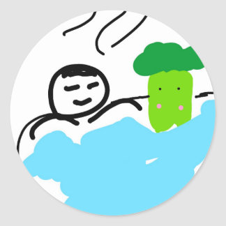 Cute Broccoli in Hot Springs Round Sticker