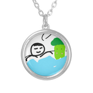 Cute Broccoli in Hot Springs Silver Plated Necklace
