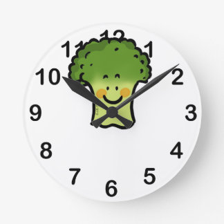 cute broccoli round clock