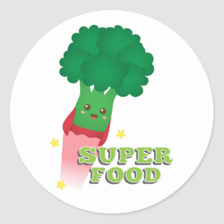 Cute Broccoli Vegetable, Super food Round Sticker