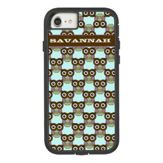 Cute Brown Aqua Purple Owl Pattern Choose Color Case-Mate Tough Extreme iPhone 8/7 Case