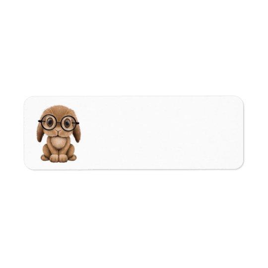 Cute Brown Baby Bunny Wearing Glasses Return Address Label