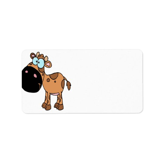 cute brown baby cow calf label