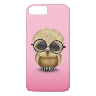 Cute Brown Baby Owl Wearing Glasses on Pink Case-Mate iPhone Case