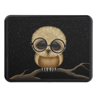 Cute Brown Baby Owl Wearing Glasses with Stars Trailer Hitch Cover