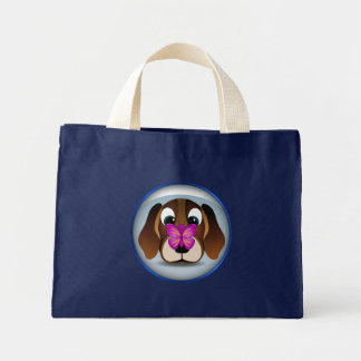 Cute Brown Beagle Puppy Dog and Butterfly Grocery Mini Tote Bag