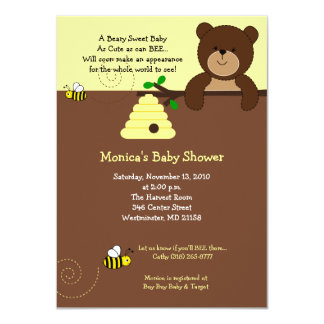 """Cute Brown Bear and Honey Bee Baby Shower 4x6 4.5"""" X 6.25"""" Invitation Card"""