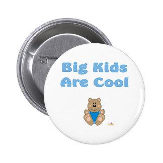 Cute Brown Bear Blue Bib Big Kids Are Cool Button