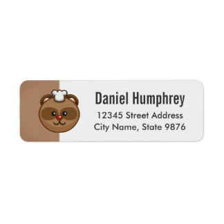 Cute Brown Bear Cartoon on Chestnut Brown Return Address Label