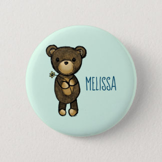 Cute Brown Bear Holding a Yellow Flower 2 Inch Round Button