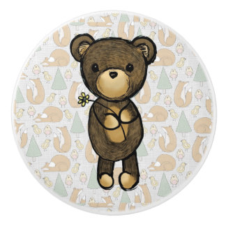 Cute Brown Bear Holding a Yellow Flower Ceramic Knob