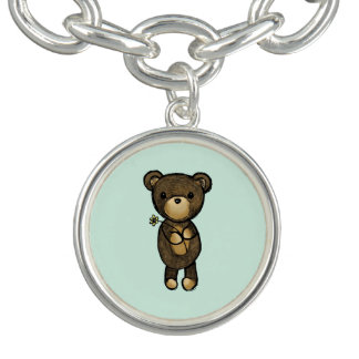 Cute Brown Bear Holding a Yellow Flower Charm Bracelet