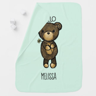 Cute Brown Bear Holding a Yellow Flower Custom Baby Blanket