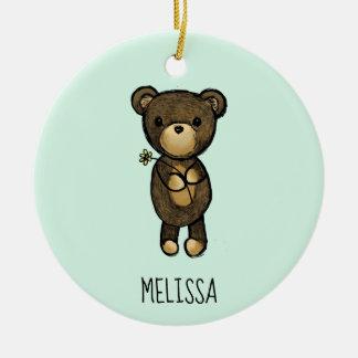 Cute Brown Bear Holding a Yellow Flower Custom Ceramic Ornament