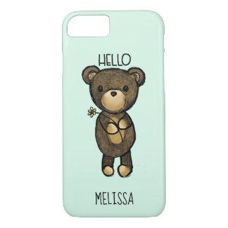 Cute Brown Bear Holding a Yellow Flower Custom iPhone 8/7 Case