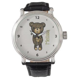 Cute brown Bear holding a Yellow Flower Custom Watch