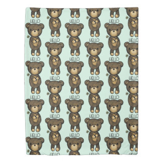 Cute Brown Bear Holding a Yellow Flower Duvet Cover