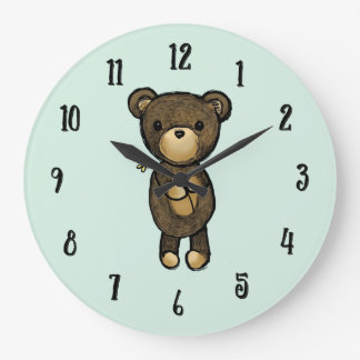 Cute Brown Bear Holding a Yellow Flower Large Clock