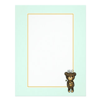 Cute Brown Bear Holding a Yellow Flower Letterhead