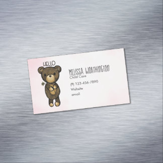 Cute Brown Bear Holding a Yellow Flower Magnetic Business Card