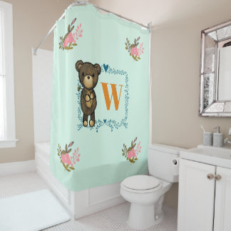 Cute Brown Bear Holding a Yellow Flower Monogram