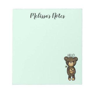Cute Brown Bear Holding a Yellow Flower Notepad