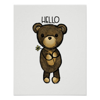 Cute Brown Bear Holding a Yellow Flower Poster