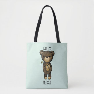 Cute Brown Bear Holding a Yellow Flower Tote Bag