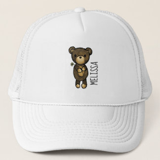 Cute Brown Bear Holding a Yellow Flower Trucker Hat