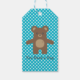 Cute Brown Bear Hug Pack Of Gift Tags