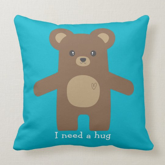 Cute Brown Bear Hug Throw Pillow