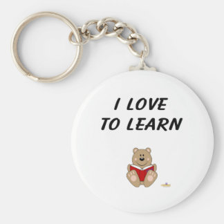 Cute Brown Bear Reading I Love To Learn Key Chains