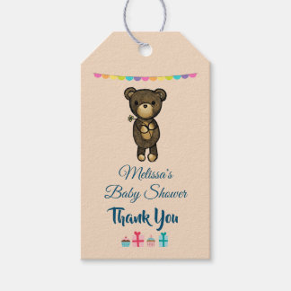 Cute Brown Bear with Yellow Flower Baby Shower Gift Tags