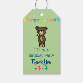 Cute Brown Bear with Yellow Flower Birthday Thanks Gift Tags