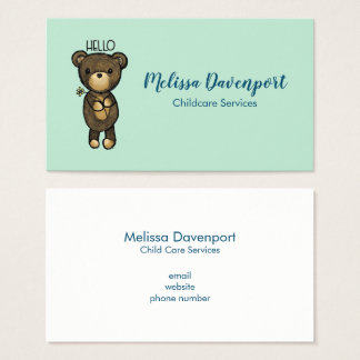 Cute Brown Bear with Yellow Flower Business Card