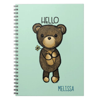 Cute Brown Bear with Yellow Flower Hello Notebooks