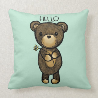 Cute Brown Bear with Yellow Flower Hello Throw Pillow