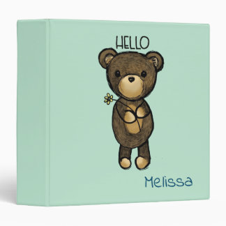 Cute Brown Bear with Yellow Flower Personalized 3 Ring Binder
