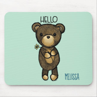 Cute Brown Bear with Yellow Flower Personalized Mouse Pad